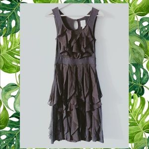 Anthropology Rio Ras 💗 Grey ruffle silk dress